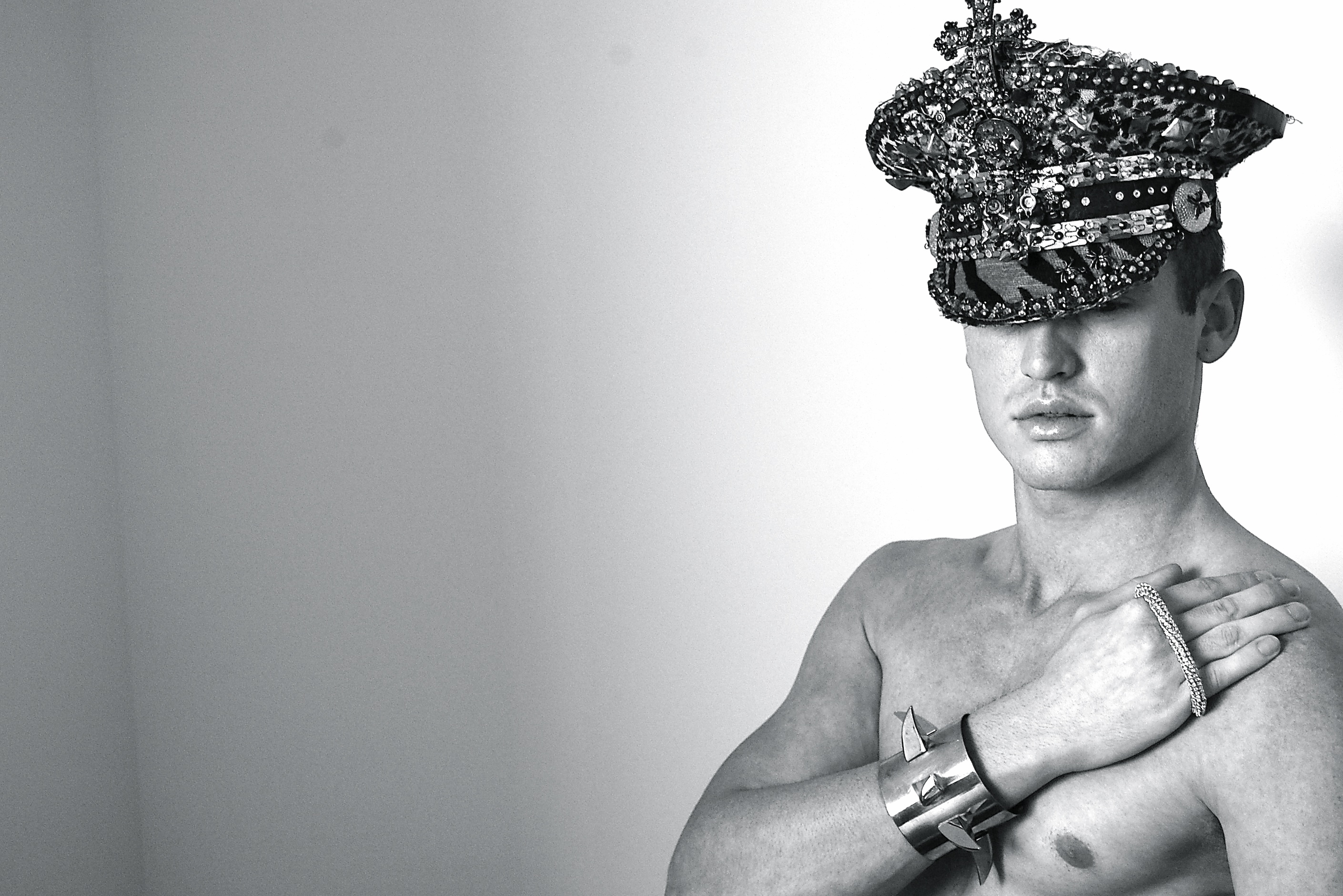 Bovver hand knuckleduster & Claw ur Way Up cuff shown. Hat by Punk Kouture