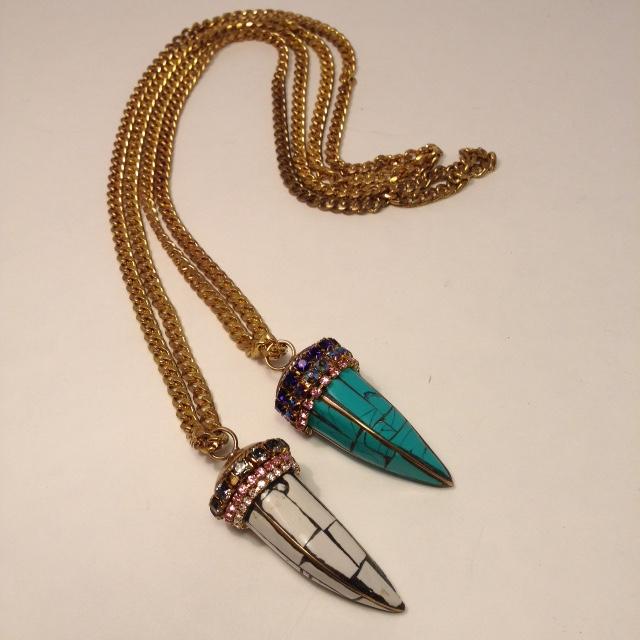 NE- TUSK1272. Wht/Turq jeweled tusks