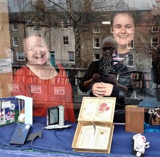 Arranging Shakespeare display at Hay Cinema Bookshop