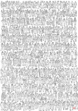 500 people, 11 x 14