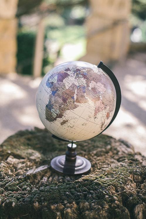 Le globe terrestre beige