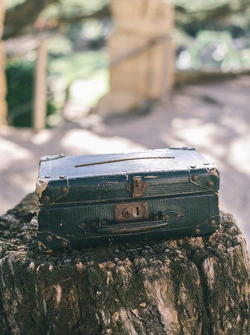 L' urne valise verte vintage
