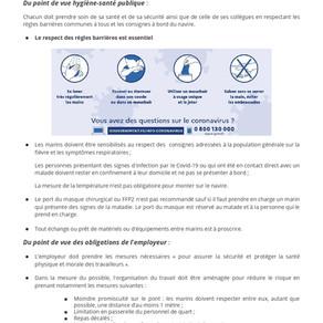 Fiche sur les recommandations pour limiter le risque de diffusion du virus à bord des navires