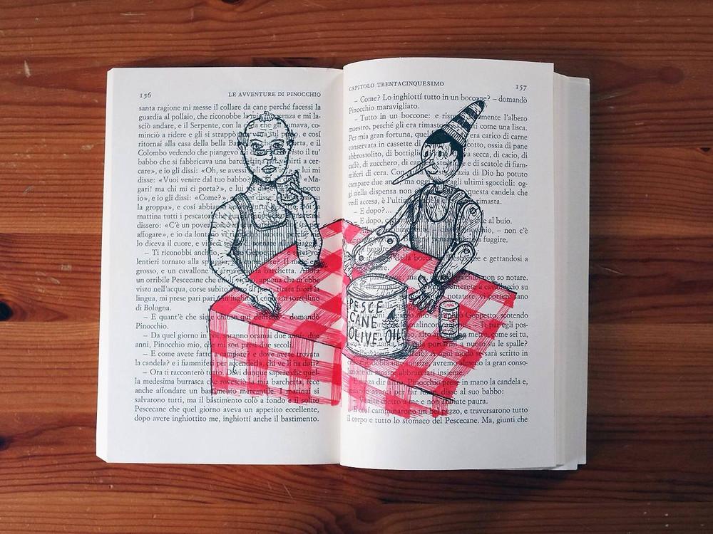 Zetaesse, Luigi Vecchione, Pinocchio e Geppetto: Sono padre e figlio costretti dall'apparato digerente ospitante a digerire il loro rapporto, non più mediato della favola ma dal famelico procedere della vita