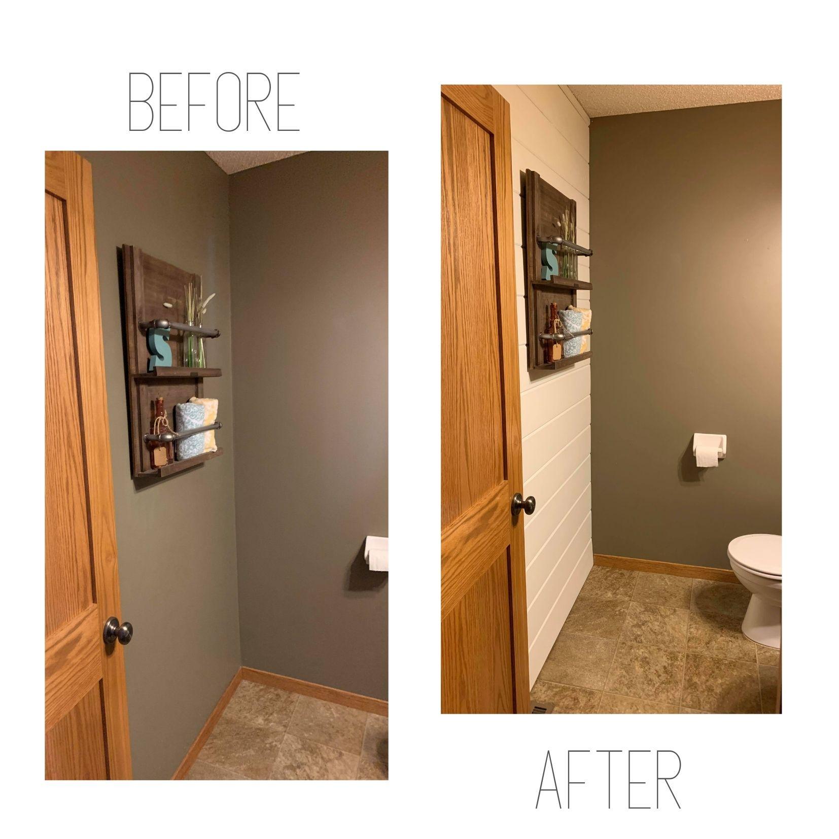 Main Bathroom Shiplap Accent Wall