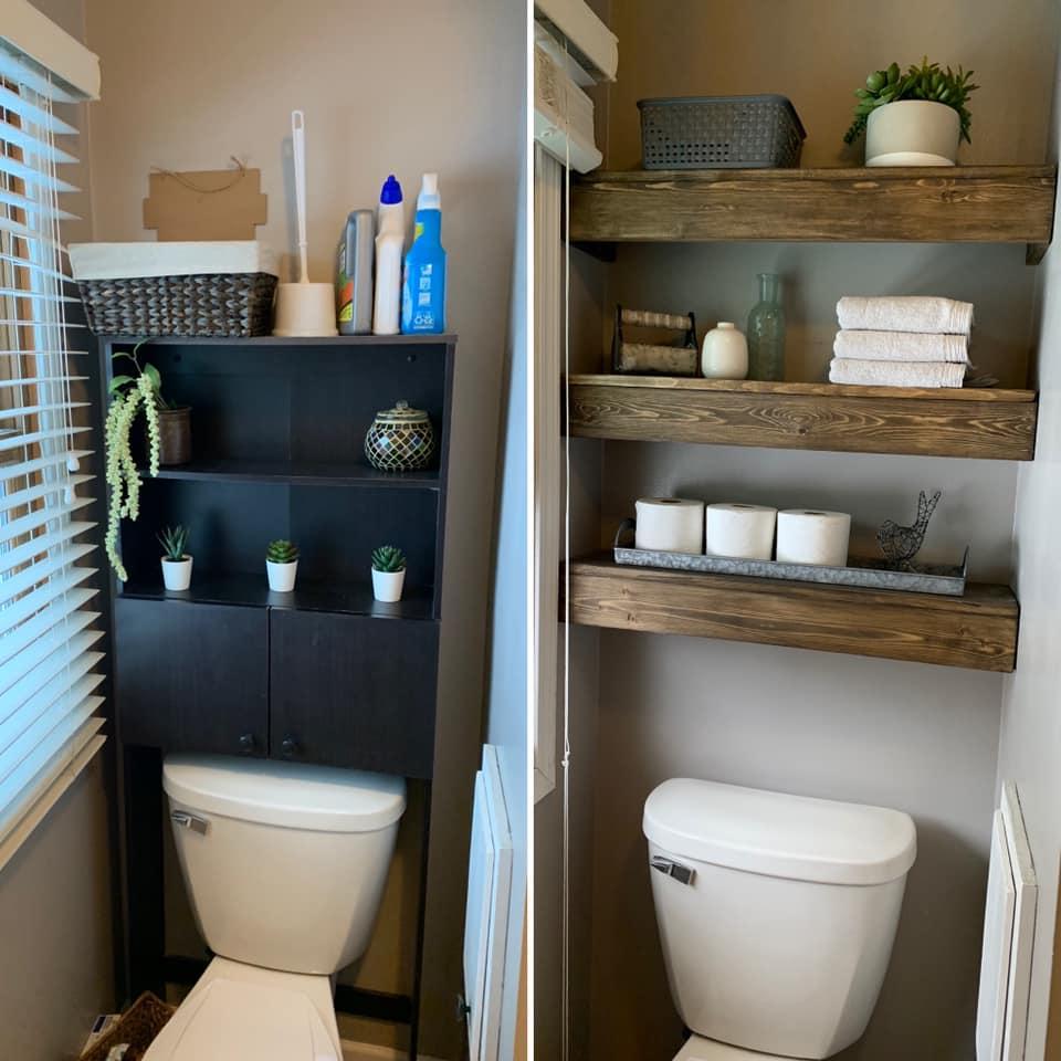 Bathroom Shelves Before/After