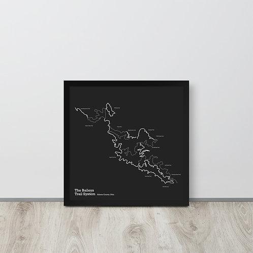 The Baileys Trail System Framed Map - Dark