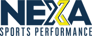 NEXA Sports Performance logo. A dark navy blue with half the X in yellow