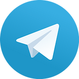 Telegram logo. Light blue gradient circle with a white paper airplane symbol
