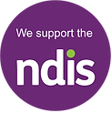 """Purple circle with the words, """"We support the NDIS"""" in white"""