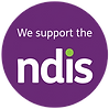 We support the NDIS logo with purple background