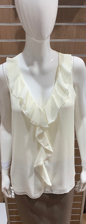 Double Layer V-Neck Top With Frill