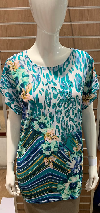 Plus Size Floral Round Neck Casual Top 8942