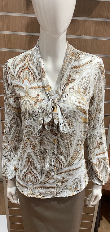 Long Sleeve Button Up White Printed Shirt With Neck Tie
