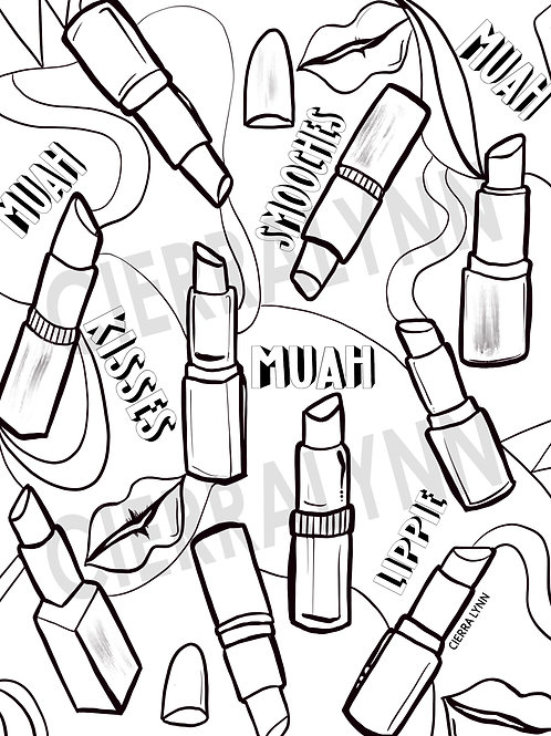 COLORING PAGE-  LIPSTICK LOVE