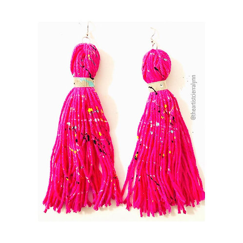 PINK FRINGE EARRINGS 6  inch
