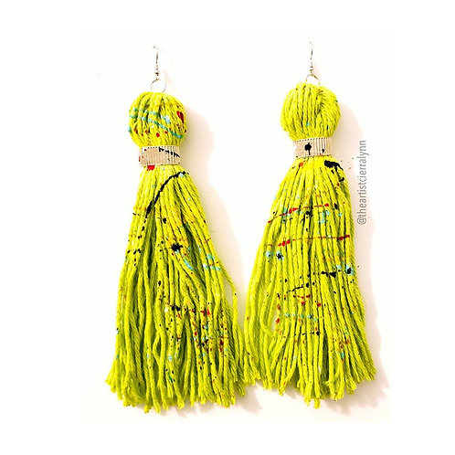 FLOURESCENT YELLOW FRINGE EARRINGS 6  inch