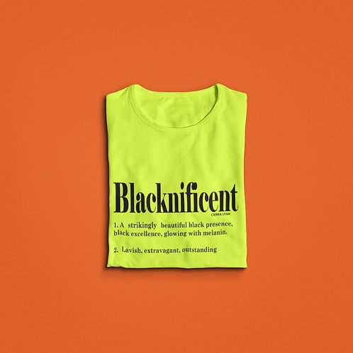 BOLD YELLOW BLACKNIFICENT  UNISEX FIT TEE