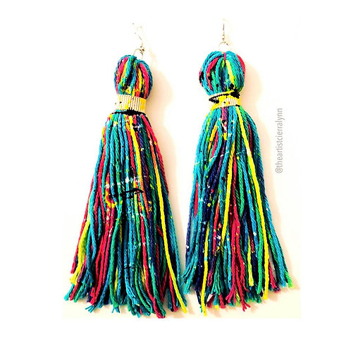 BLUE  MULTI FRINGE EARRINGS 6  inch