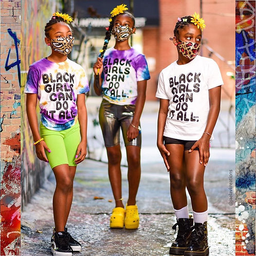Tie Dye Youth Black Girls Can Do It All  tee