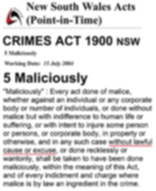 Crimes Act 1900 s5 malice -5 year AVO on