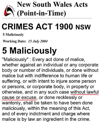 Crimes Act 1900 s5 malice -5 year AVO on