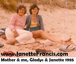 1985 on beach with Mother - Gladys & Jan