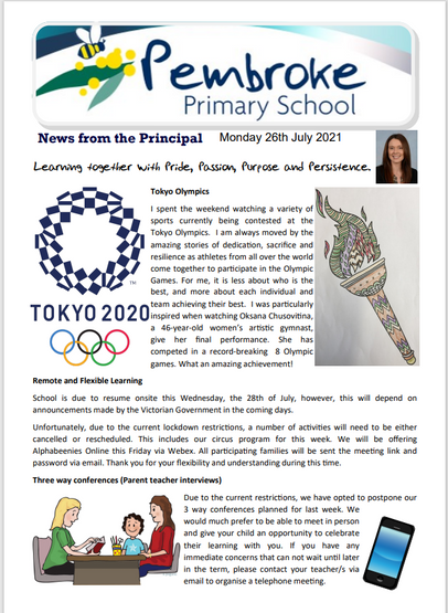 Newsletter 26th July 2021
