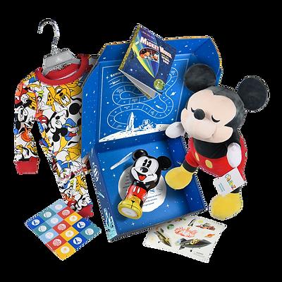 Disney Bedtime Adventure box with pajamas, plush toys and books