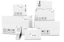 white shipping boxes with RFD scanner