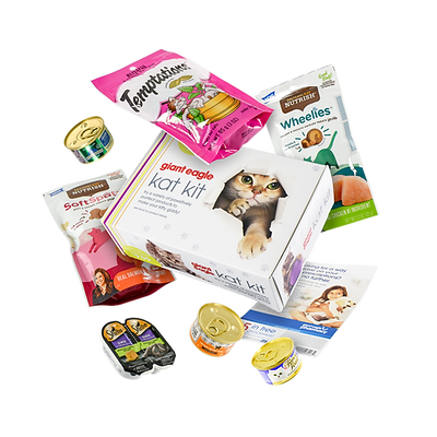 Giant Eagle sample box with cat products