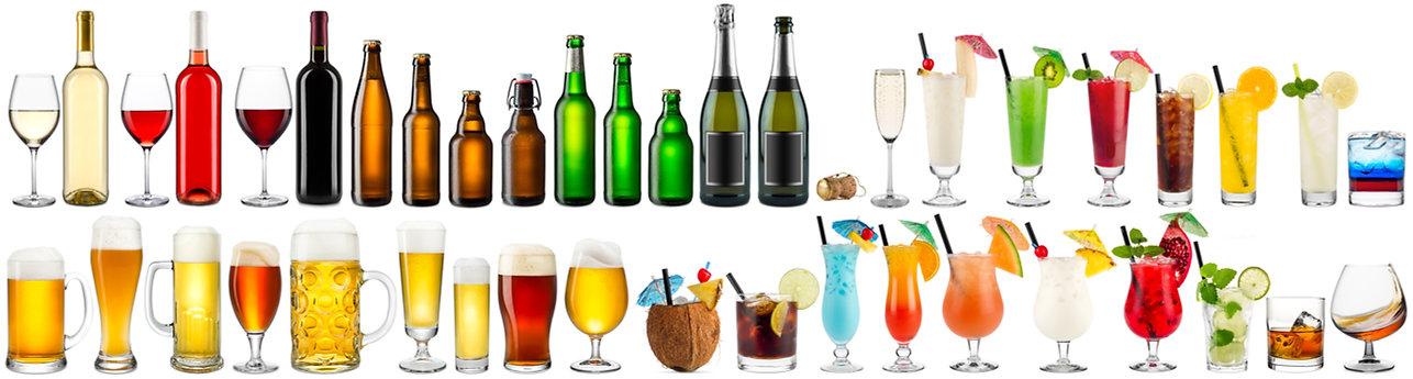 huge set collection of alcoholic beverag