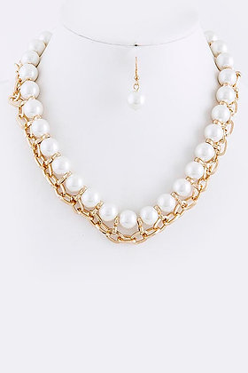 PEARL CHAIN LINKED NECKLACE SET