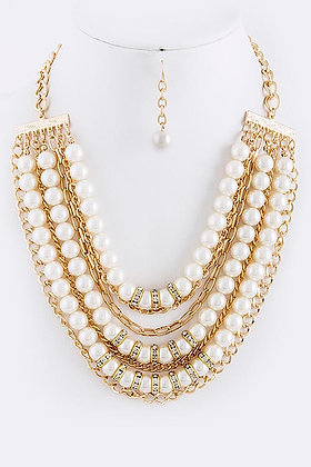 PEARL CHAIN BIB NECKLACE SET