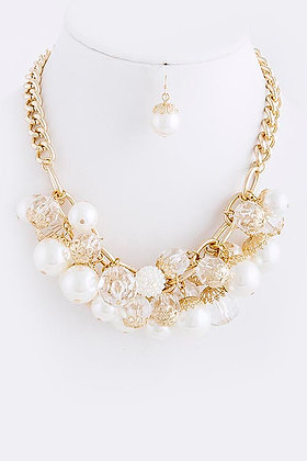 PEARL BALL CLUSTERED NECKLACE SET