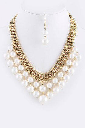 PEARL DANGLE CHAIN NECKLACE SET