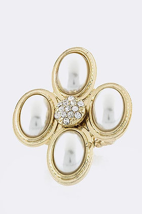 CRYSTAL FOUR PEARL RING