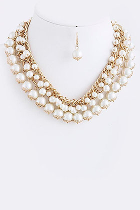 PEARL CHAIN STACKED NECKLACE SET
