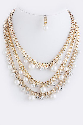 LAYERED CHAIN PEARL STUDDED NECKLACE SET