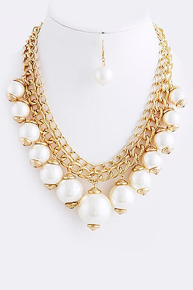 LAYERED CHAIN PEARL BEAD NECKLACE SET