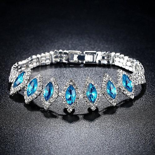 925 Sterling Silver Oval Cut Blue Gem Wedding/Engagement Bracelet