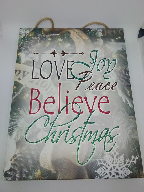 """Love, Joy, Peace, Believe, Christmas"" Wall Decor"