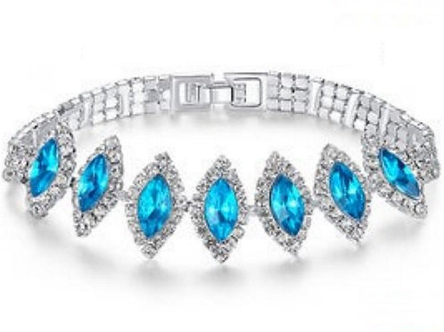 Oval Cut Blue Gem Wedding Bracelet Engagement For Ladies