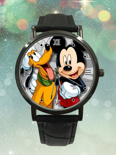 Mickey Mouse & Pluto  Custom Analogue Mens Watch
