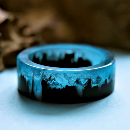 Wonderland Magic World Blue Resin Crystal Ring