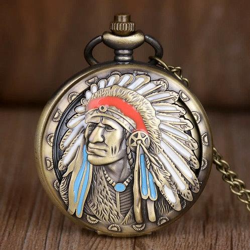 Indian Chief Tribe Bronze Pocket Quartz Pendant Necklace Watch