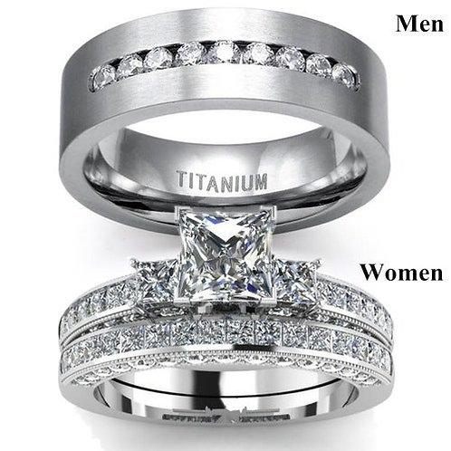 Couples Titanium Steel Mens Band & Women's Engagement/Wedding Ring Set