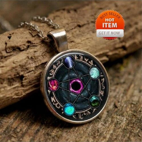 Wiccan Constellations of The Zodiac Pagan Glass Cabochon Necklace