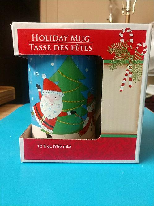Holiday Mug 12 Fl ounces Santa Claus and Snowman