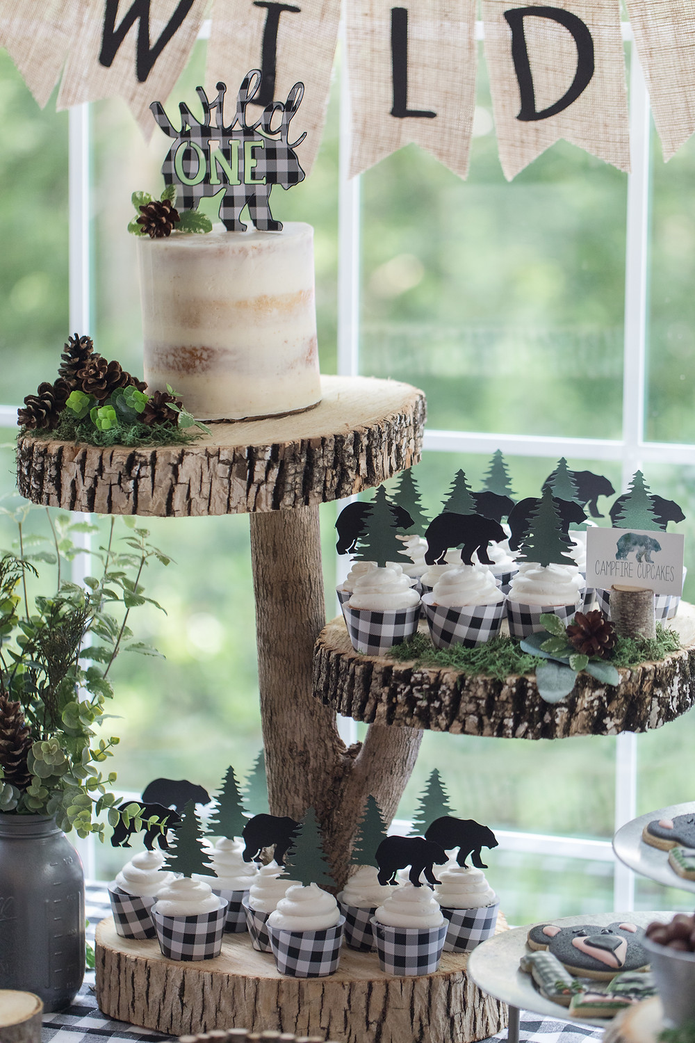 Bear Tree Cupcakes Semi Naked Birthday Cake - Wild One Smash Cake Photo Session - One Wild Year - Boy's 1st Birthday Party - Ideas, inspiration, decor, party food and menu, kids activities and games, cake smash photo session, bear theme, wild one wilderness tree teepee outdoor theme, decorations, cake, cookies, and more!